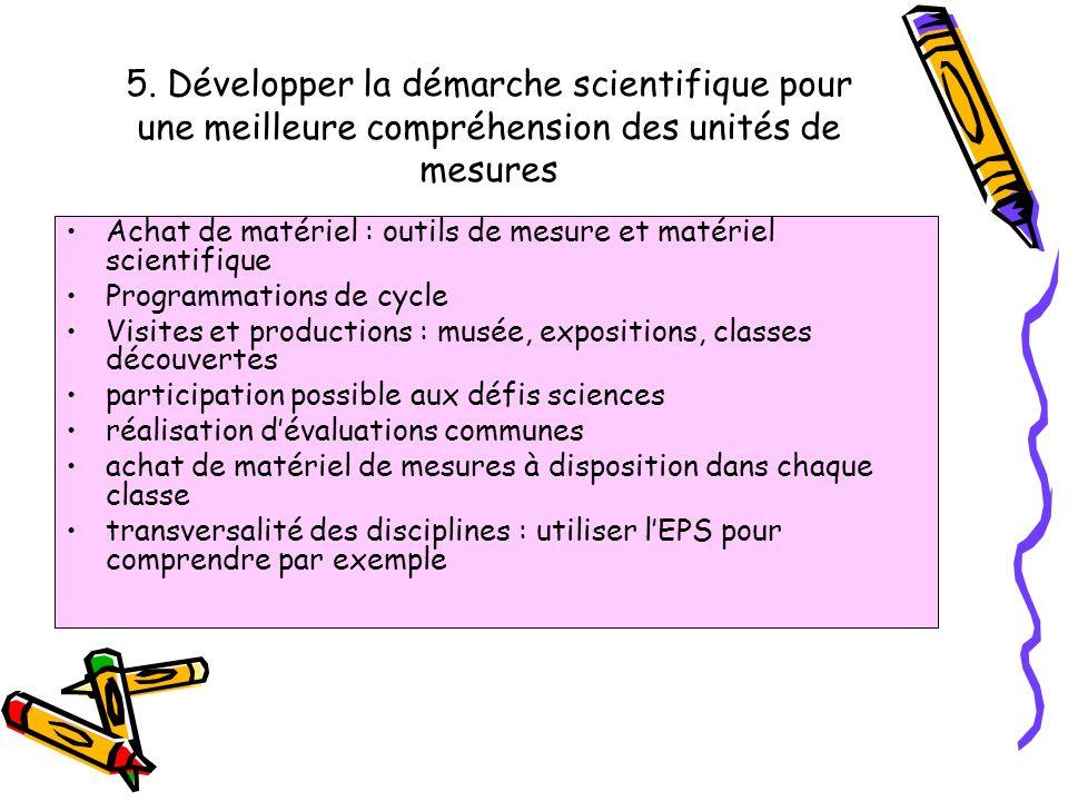 5. Développer la démarche scientifique pour une meilleure compréhension des unités de mesures