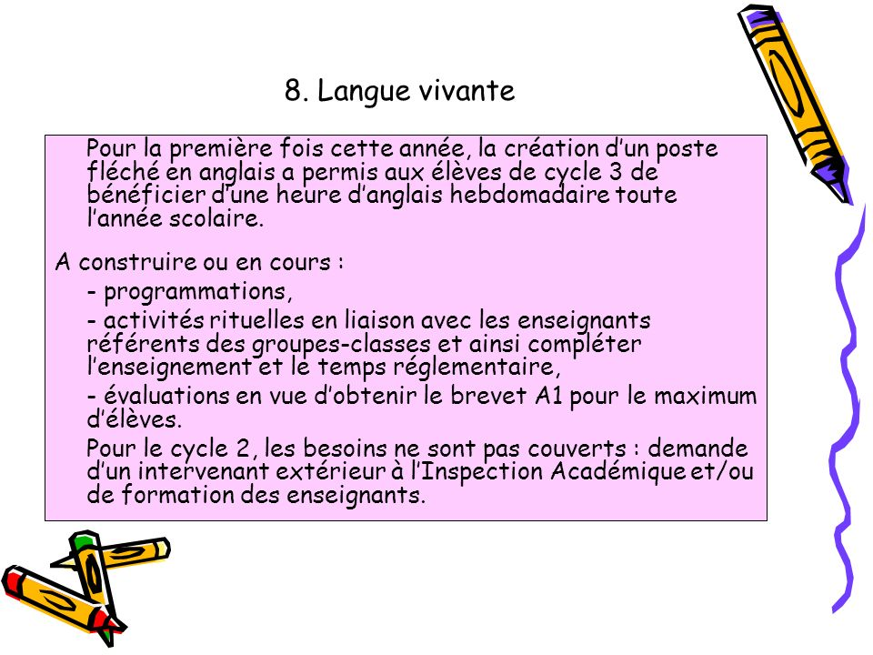 8. Langue vivante