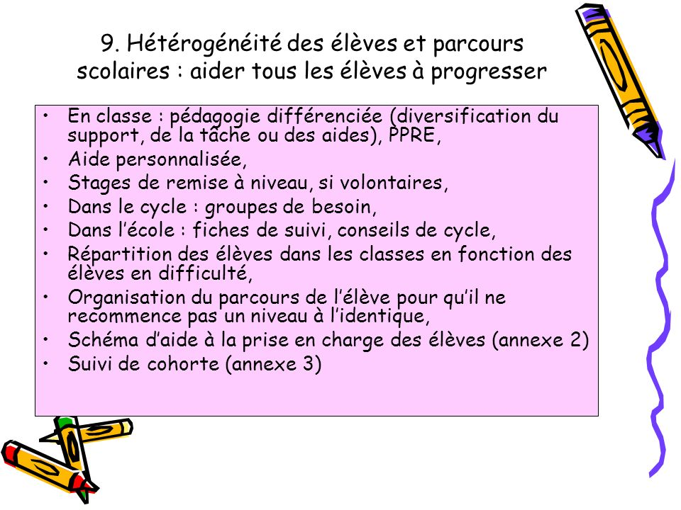 9. Hétérogénéité des élèves et parcours scolaires : aider tous les élèves à progresser