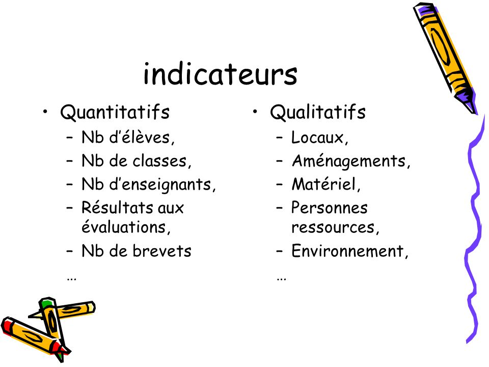 indicateurs Quantitatifs Qualitatifs Nb d'élèves, Nb de classes,