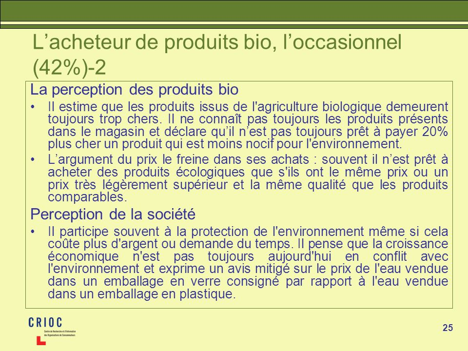 L'acheteur de produits bio, l'occasionnel (42%)-2