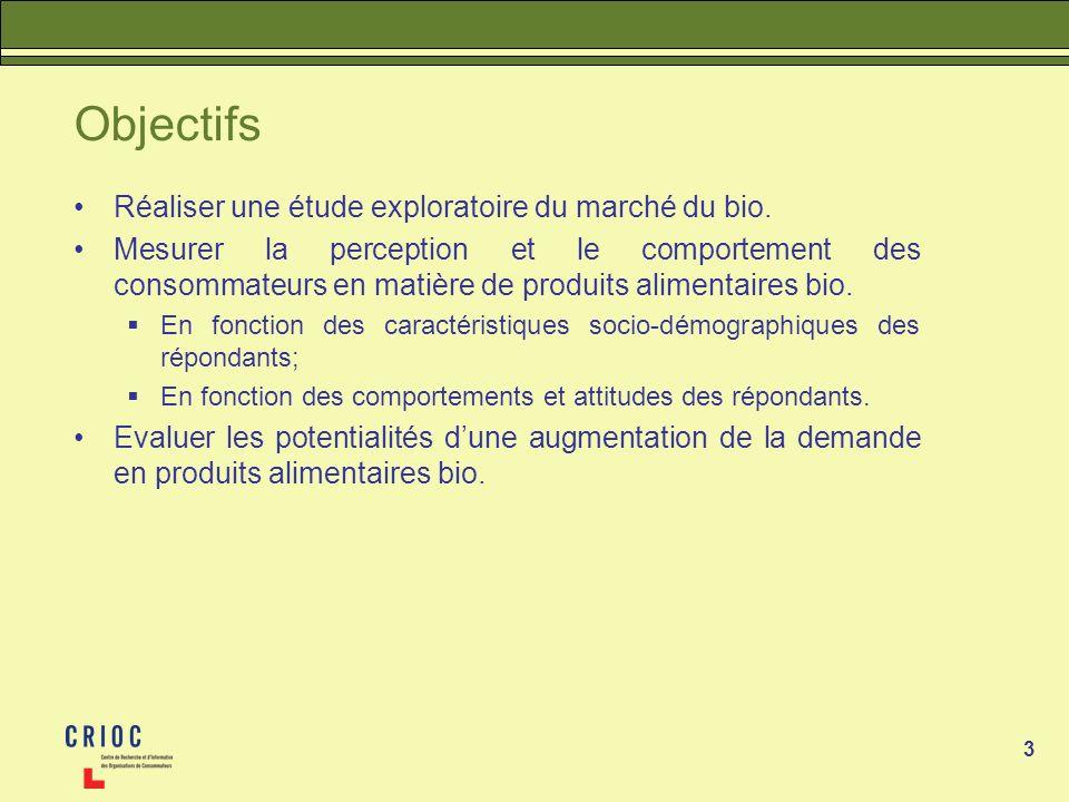 Objectifs Réaliser une étude exploratoire du marché du bio.
