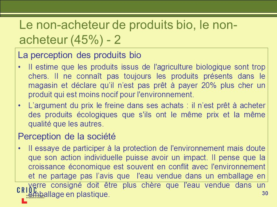 Le non-acheteur de produits bio, le non-acheteur (45%) - 2
