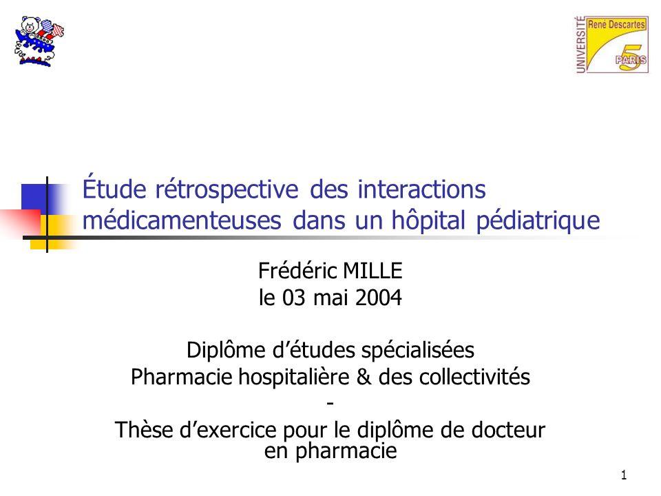 Étude rétrospective des interactions médicamenteuses dans un hôpital pédiatrique