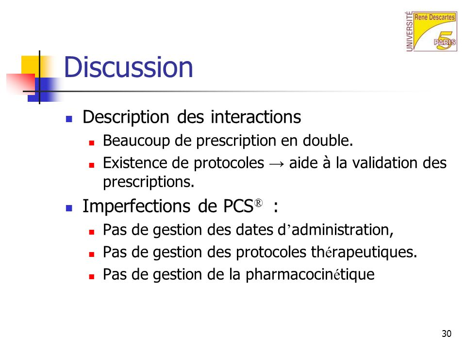 Discussion Description des interactions Imperfections de PCS® :