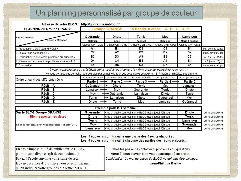 Un planning personnalisé par groupe de couleur