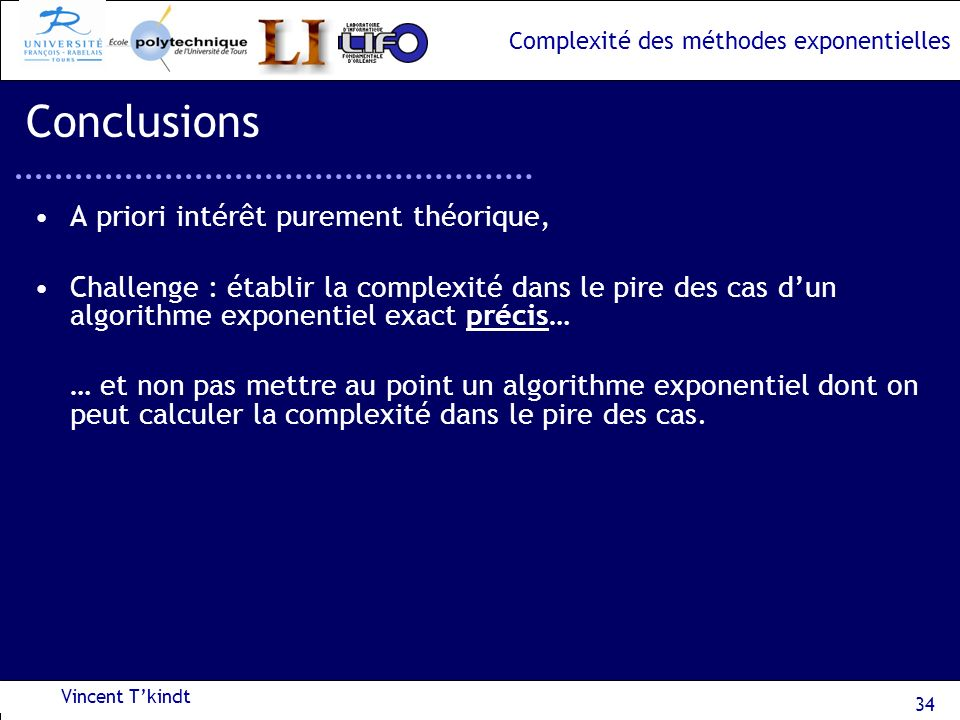 Conclusions A priori intérêt purement théorique,
