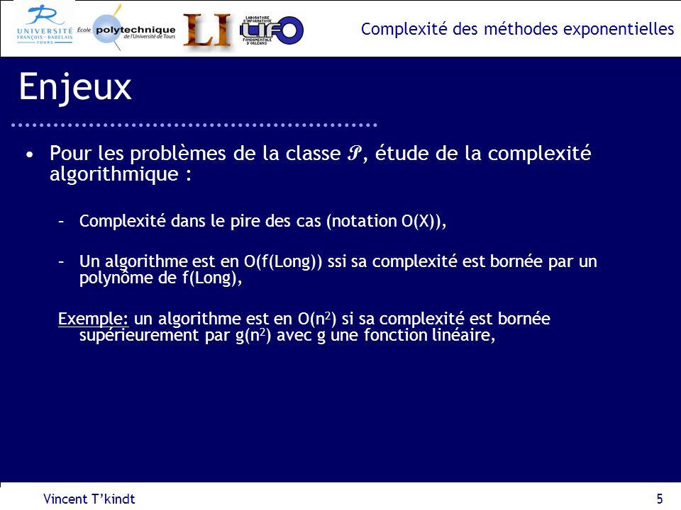 Enjeux Pour les problèmes de la classe P, étude de la complexité algorithmique : Complexité dans le pire des cas (notation O(X)),
