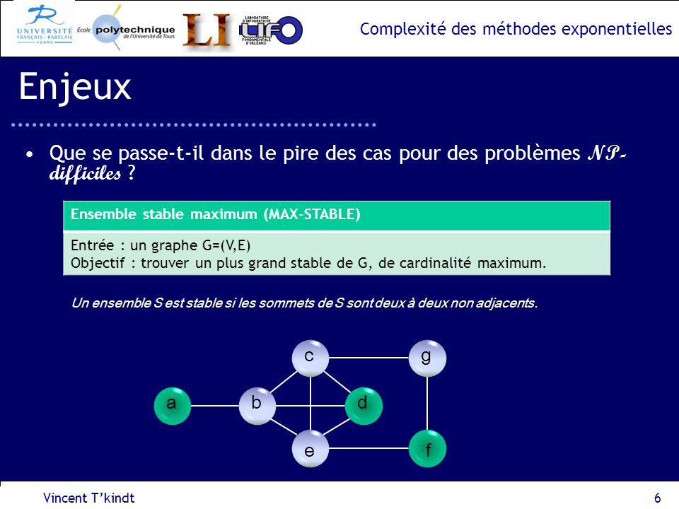 Enjeux Que se passe-t-il dans le pire des cas pour des problèmes NP-difficiles Ensemble stable maximum (MAX-STABLE)
