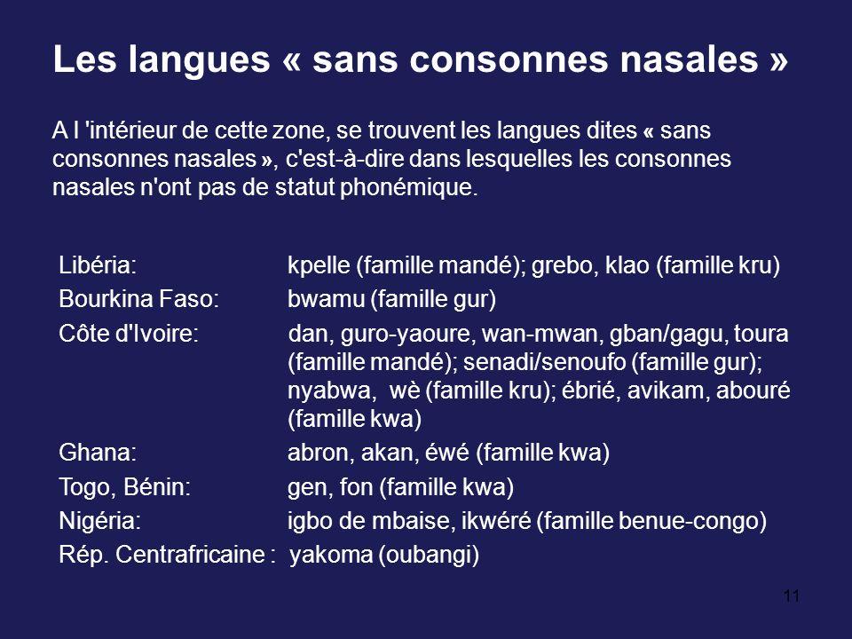 Les langues « sans consonnes nasales »