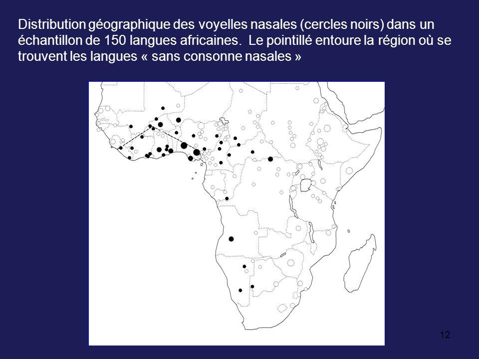 Distribution géographique des voyelles nasales (cercles noirs) dans un échantillon de 150 langues africaines.