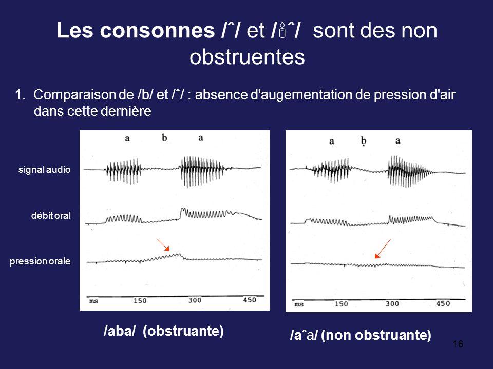 Les consonnes /ˆ/ et /ˆ/ sont des non obstruentes