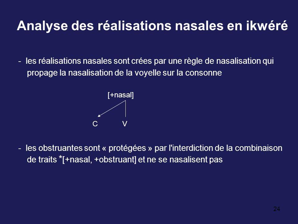 Analyse des réalisations nasales en ikwéré
