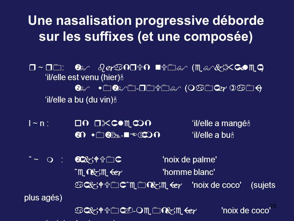 Une nasalisation progressive déborde sur les suffixes (et une composée)