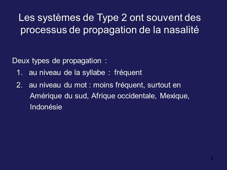 Les systèmes de Type 2 ont souvent des processus de propagation de la nasalité