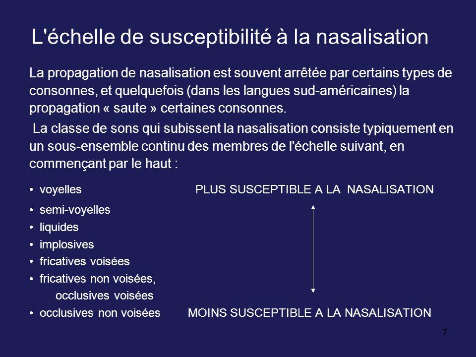 L échelle de susceptibilité à la nasalisation