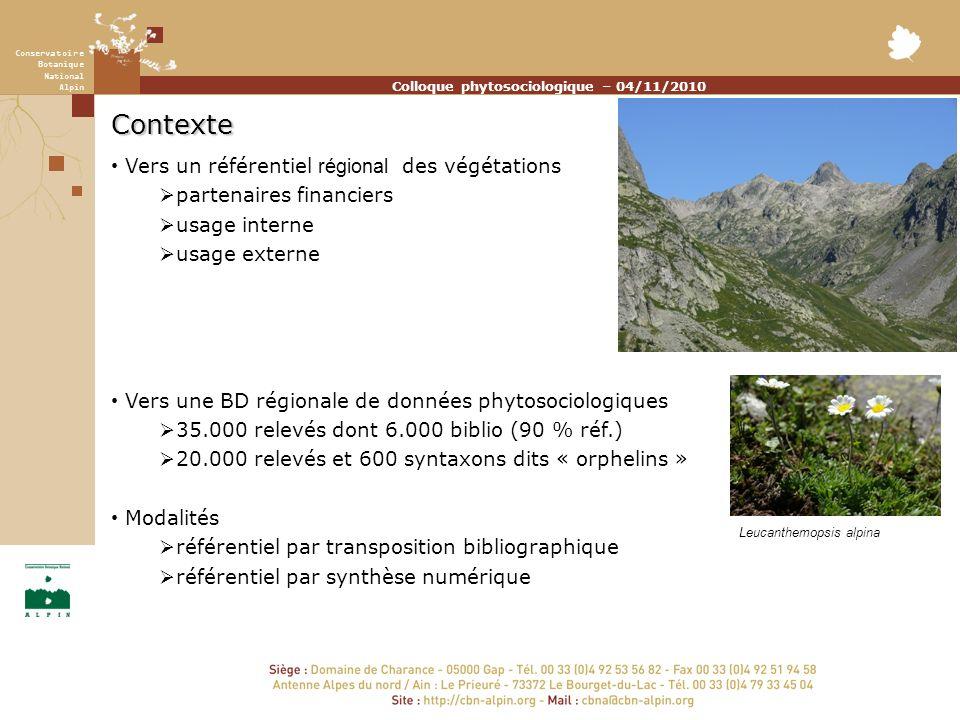 Colloque phytosociologique – 04/11/2010