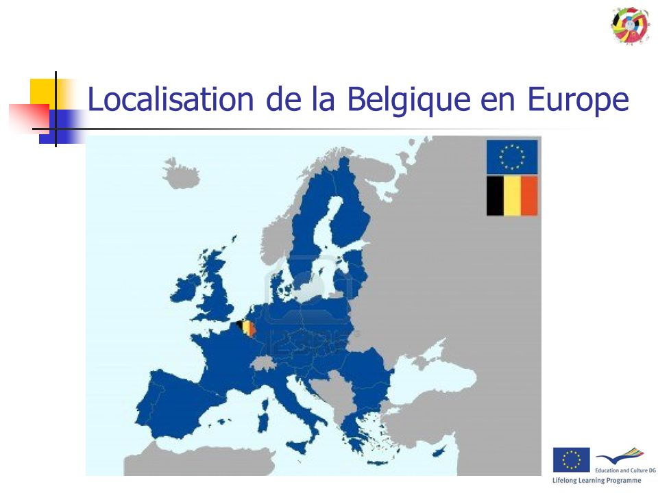 Localisation de la Belgique en Europe