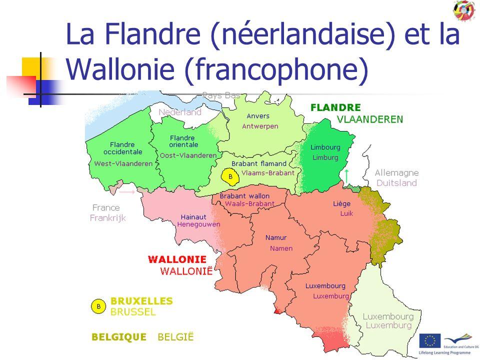 La Flandre (néerlandaise) et la Wallonie (francophone)