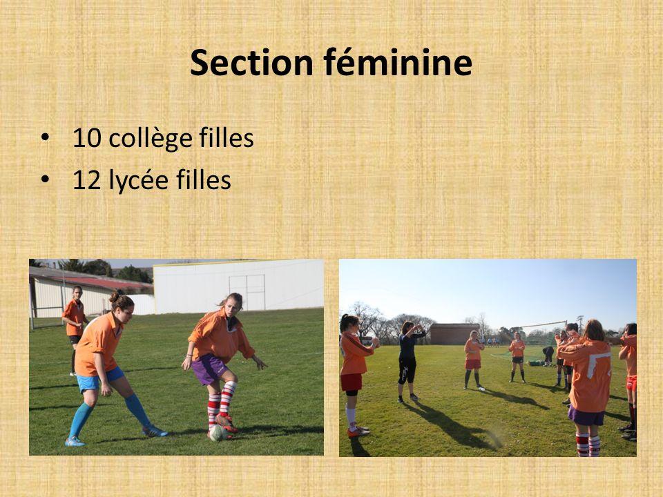 Section féminine 10 collège filles 12 lycée filles