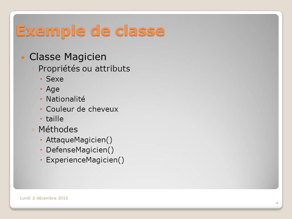 Exemple de classe Classe Magicien Propriétés ou attributs Méthodes