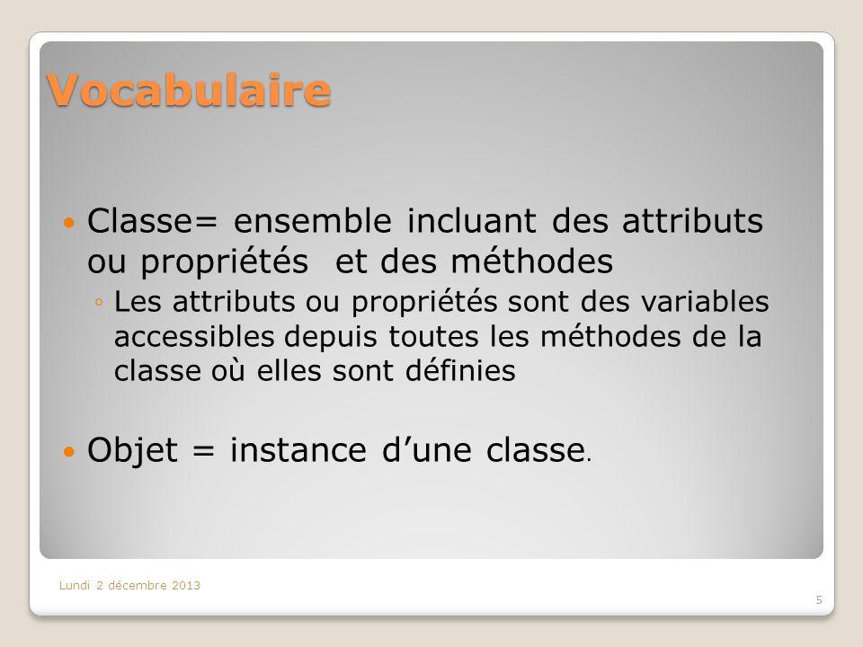 Vocabulaire Classe= ensemble incluant des attributs ou propriétés et des méthodes.