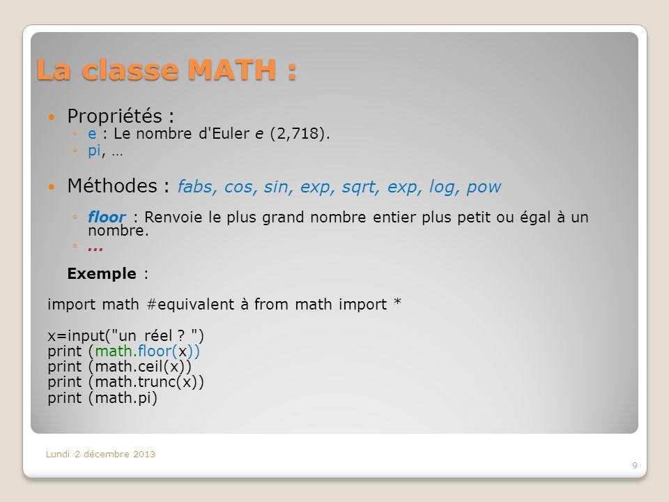 La classe MATH : Propriétés :