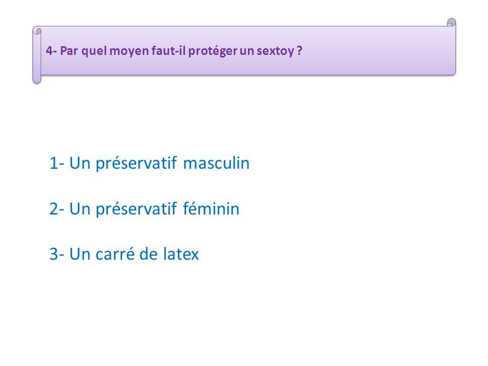 1- Un préservatif masculin 2- Un préservatif féminin