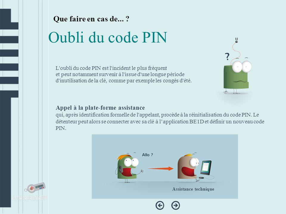 Oubli du code PIN Que faire en cas de...