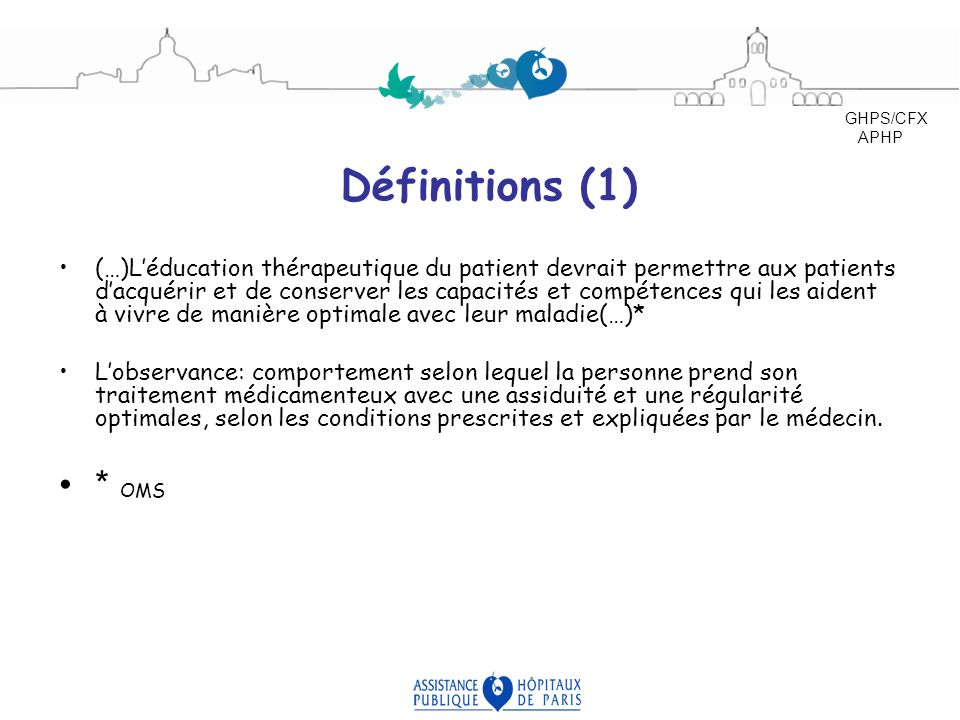 GHPS/CFX APHP. Définitions (1)