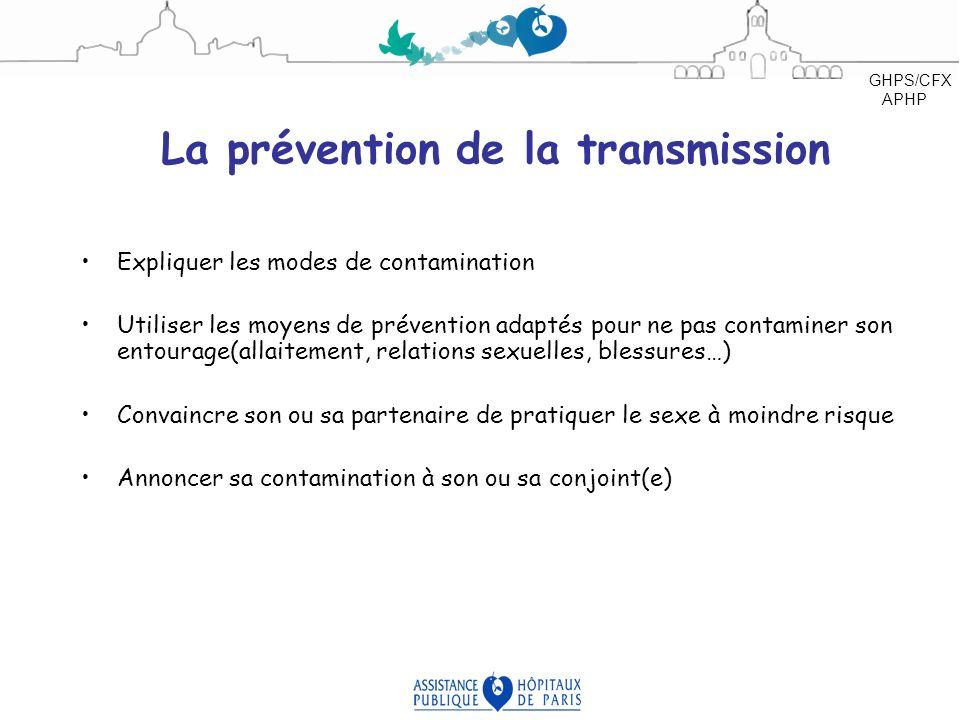 La prévention de la transmission