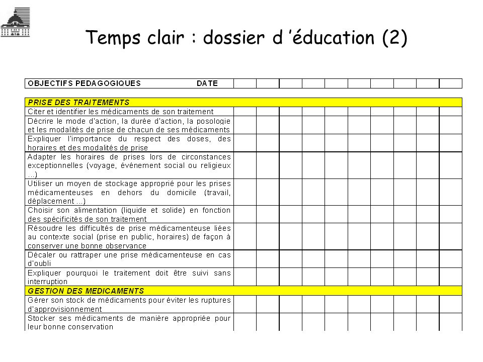 Temps clair : dossier d 'éducation (2)