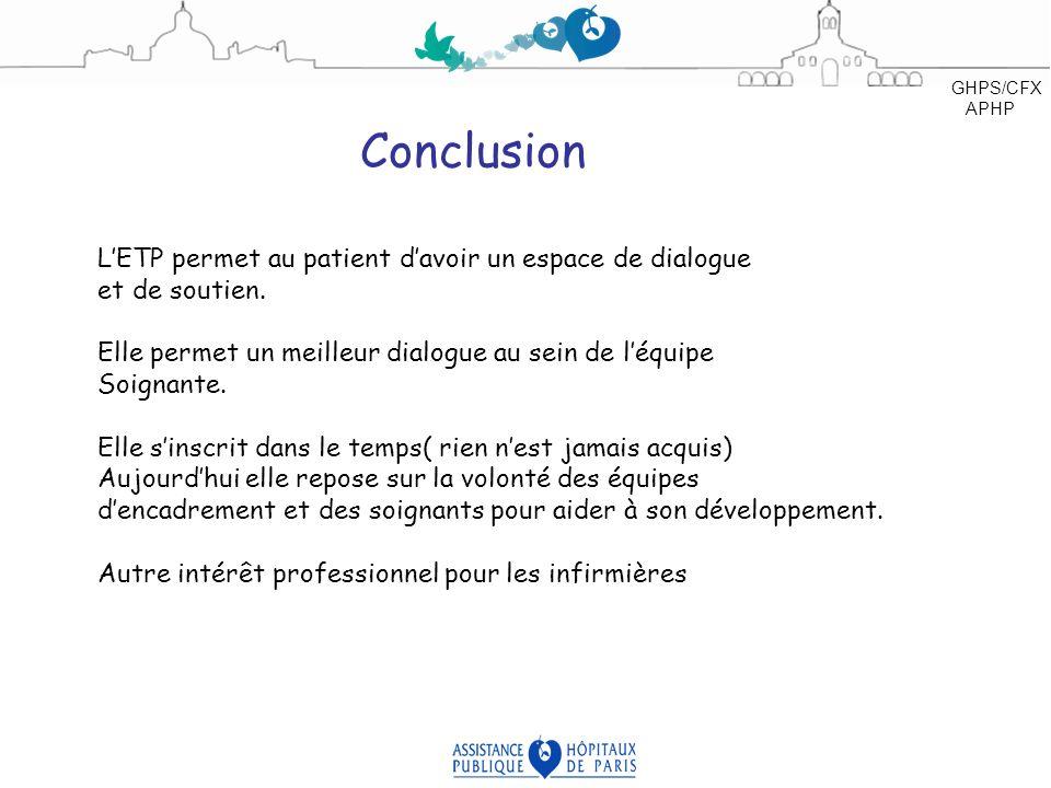 Conclusion L'ETP permet au patient d'avoir un espace de dialogue