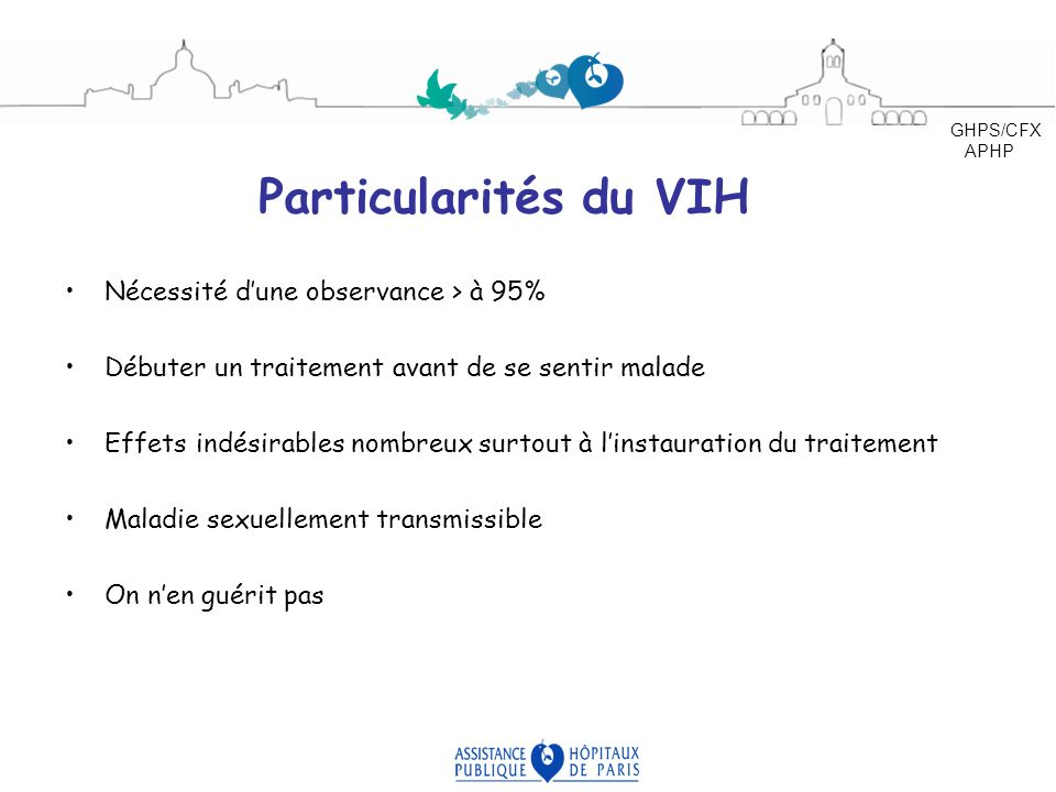 Particularités du VIH Nécessité d'une observance > à 95%