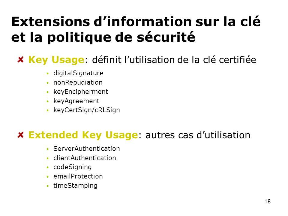Extensions d'information sur la clé et la politique de sécurité