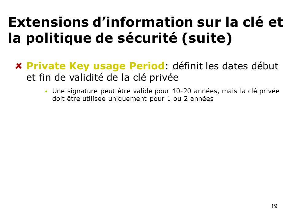 Extensions d'information sur la clé et la politique de sécurité (suite)