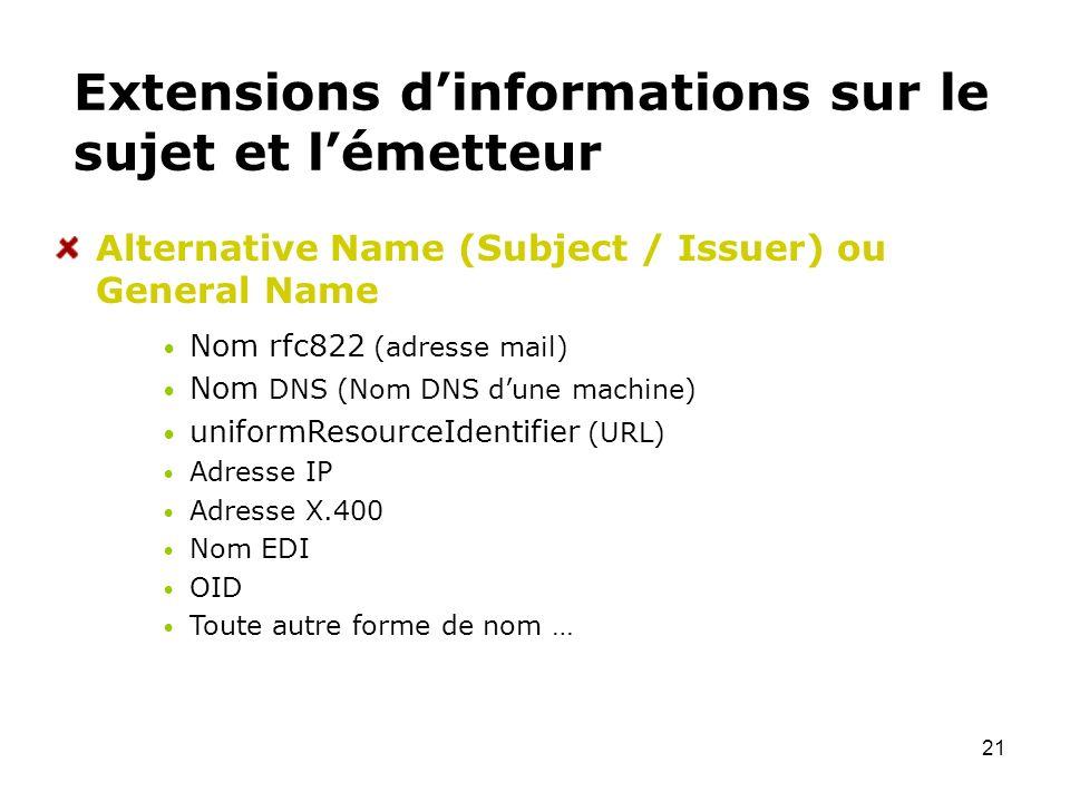 Extensions d'informations sur le sujet et l'émetteur