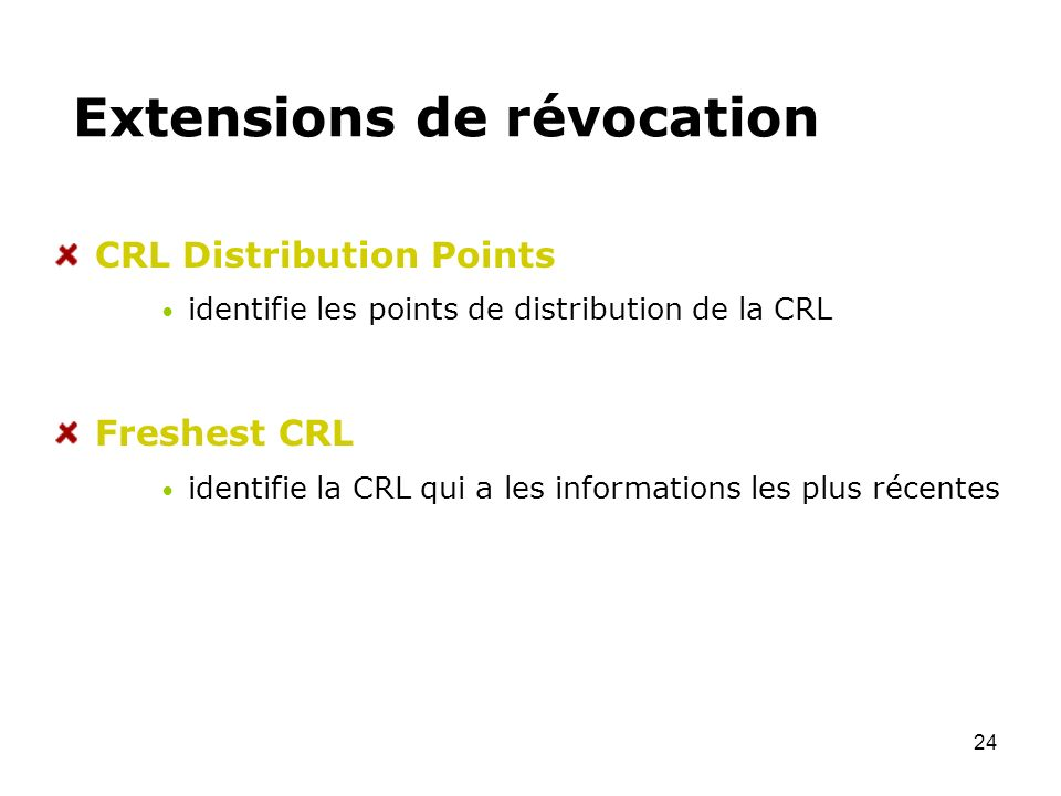 Extensions de révocation