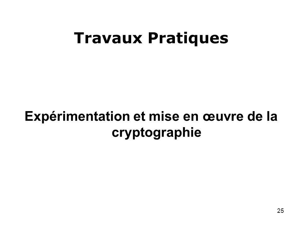 Expérimentation et mise en œuvre de la cryptographie