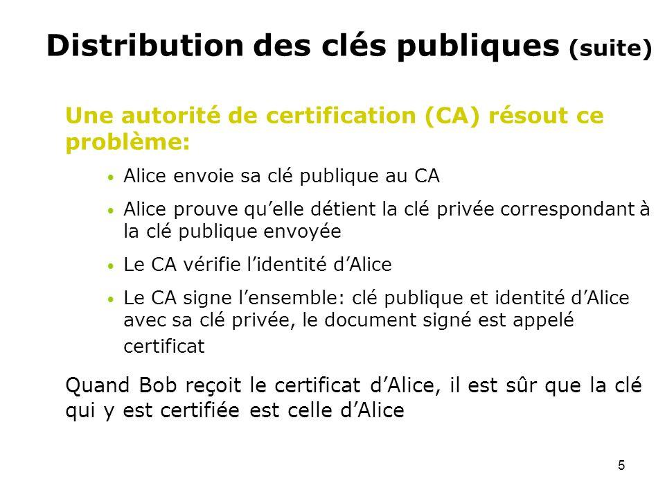Distribution des clés publiques (suite)