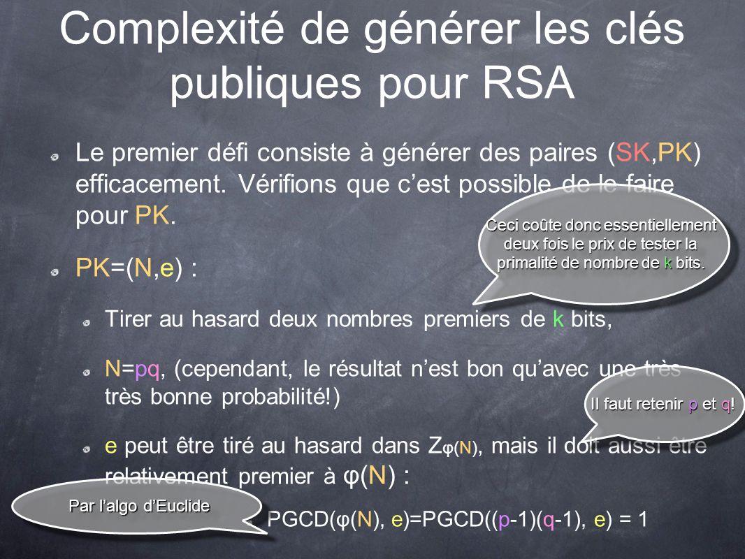 Complexité de générer les clés publiques pour RSA