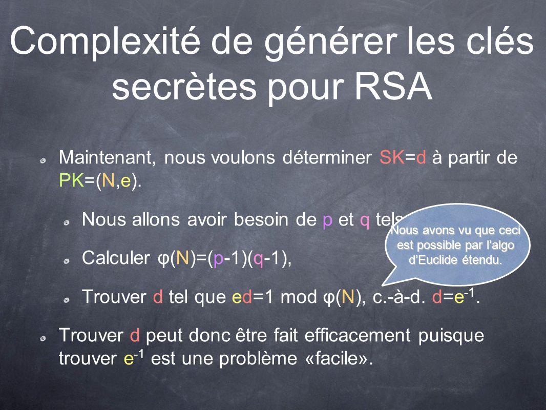 Complexité de générer les clés secrètes pour RSA