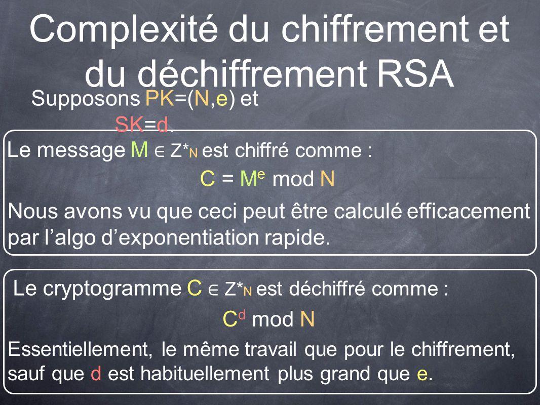 Complexité du chiffrement et du déchiffrement RSA