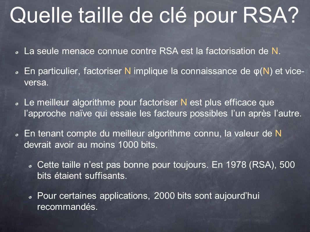 Quelle taille de clé pour RSA