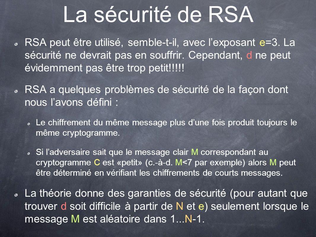 La sécurité de RSA