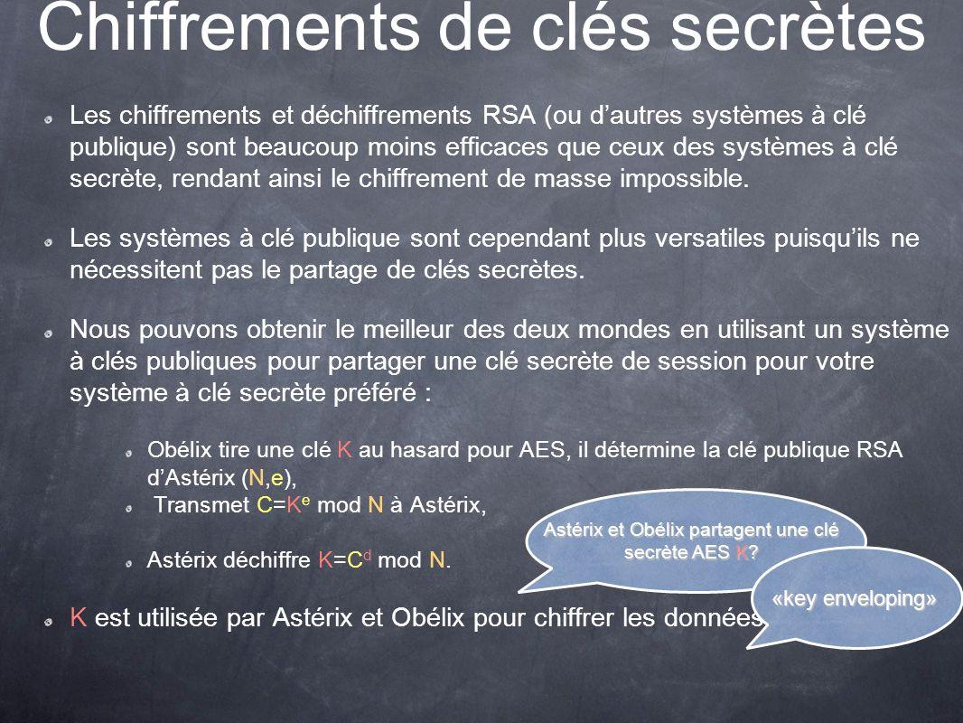Chiffrements de clés secrètes