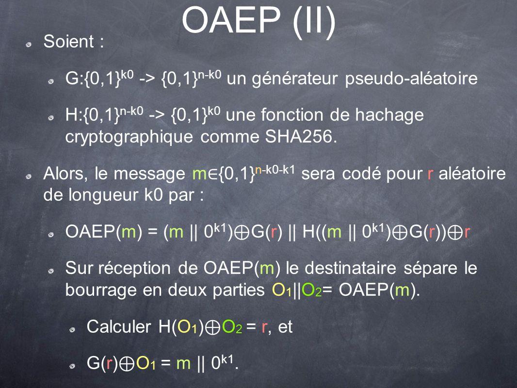OAEP (II) Soient : G:{0,1}k0 -> {0,1}n-k0 un générateur pseudo-aléatoire.