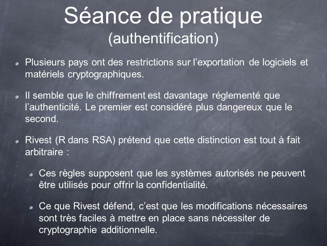 Séance de pratique (authentification)