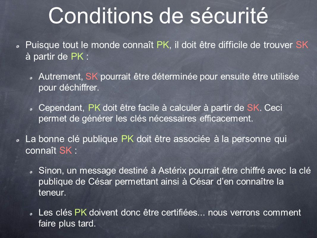 Conditions de sécurité