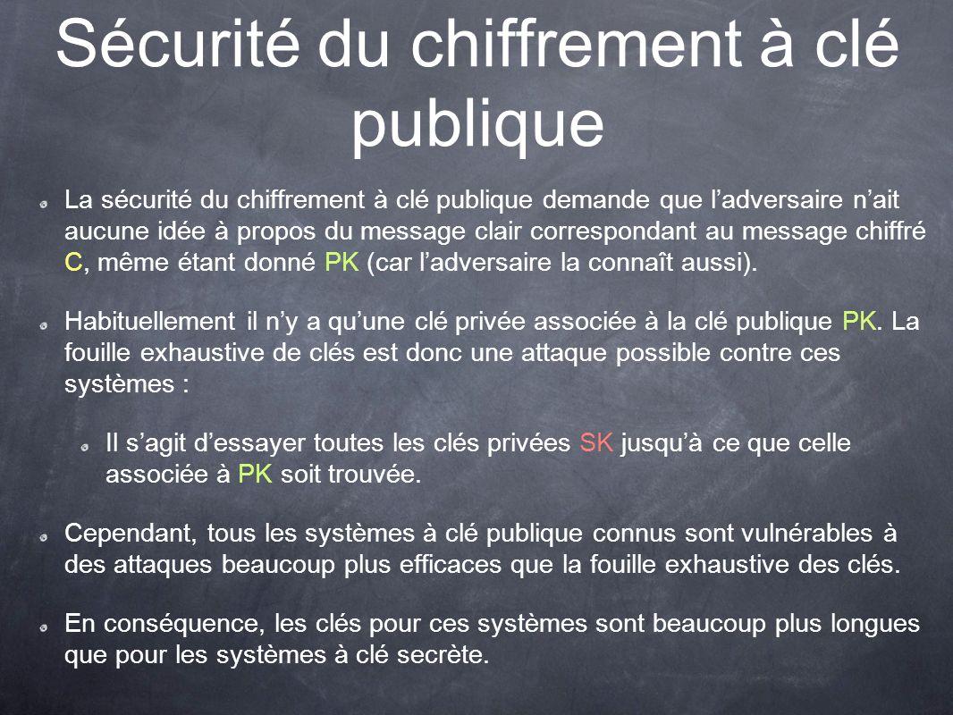 Sécurité du chiffrement à clé publique